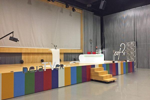 Escenario COFBI. Evento DejaTVer en edificio EITB